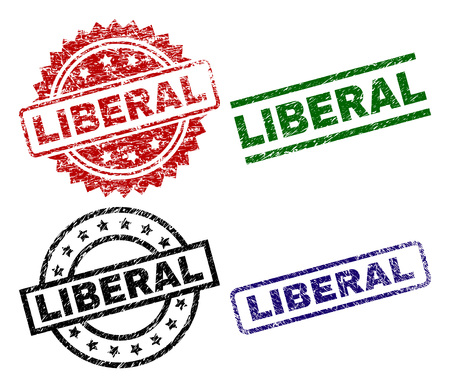 LIBERAL seal prints with damaged style. Black, green,red,blue vector rubber prints of LIBERAL tag with dirty style. Rubber seals with circle, rectangle, medallion shapes.