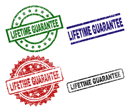 LIFETIME GUARANTEE seal stamps with damaged surface. Black, green,red,blue vector rubber prints of LIFETIME GUARANTEE text with grunge surface. Rubber seals with round, rectangle, medal shapes. Stock Vector - 108019169