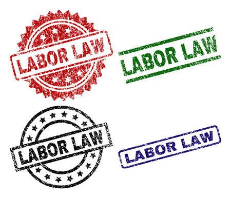 LABOR LAW seal prints with distress texture. Black, green,red,blue vector rubber prints of LABOR LAW title with dirty texture. Rubber seals with round, rectangle, medallion shapes.