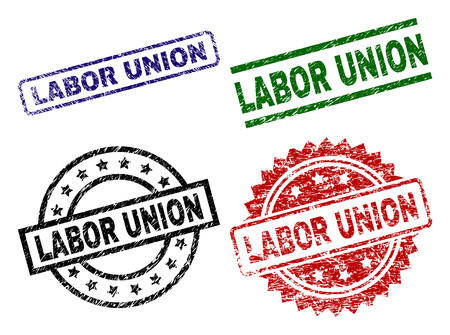 LABOR UNION seal prints with distress style. Black, green,red,blue vector rubber prints of LABOR UNION caption with dust style. Rubber seals with round, rectangle, medallion shapes. Ilustração