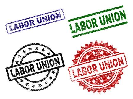 Le sceau LABOR UNION imprime avec un style de détresse. Impressions vectorielles en caoutchouc noir, vert, rouge, bleu de la légende LABOR UNION avec style poussière. Joints en caoutchouc aux formes rondes, rectangulaires, médaillons.