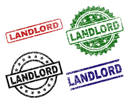 LANDLORD seal prints with damaged surface. Black, green,red,blue vector rubber prints of LANDLORD tag with unclean surface. Rubber seals with circle, rectangle, medal shapes.