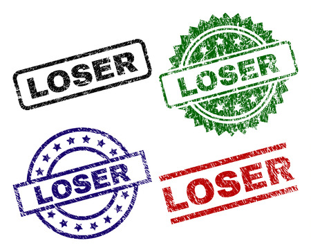 LOSER seal prints with distress surface. Black, green,red,blue vector rubber prints of LOSER caption with scratched surface. Rubber seals with circle, rectangle, medallion shapes.