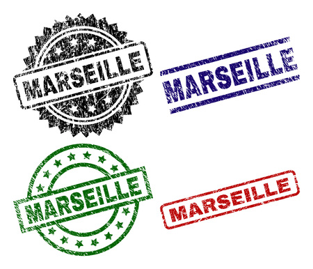 MARSEILLE seal prints with corroded style. Black, green,red,blue vector rubber prints of MARSEILLE label with corroded style. Rubber seals with round, rectangle, medallion shapes.