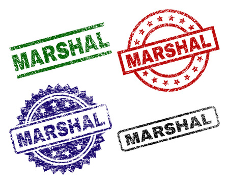 MARSHAL seal prints with corroded style. Black, green,red,blue vector rubber prints of MARSHAL title with dirty style. Rubber seals with circle, rectangle, medal shapes.