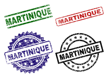 MARTINIQUE seal prints with corroded surface. Black, green,red,blue vector rubber prints of MARTINIQUE caption with corroded style. Rubber seals with round, rectangle, rosette shapes.