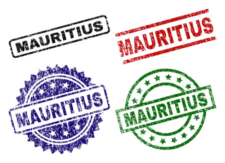 MAURITIUS seal prints with damaged surface. Black, green,red,blue vector rubber prints of MAURITIUS caption with dirty surface. Rubber seals with circle, rectangle, medallion shapes.
