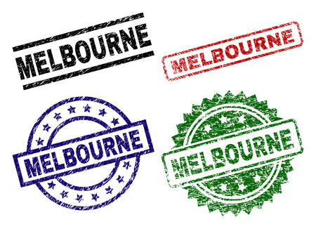 MELBOURNE seal prints with distress texture. Black, green,red,blue vector rubber prints of MELBOURNE caption with dust texture. Rubber seals with round, rectangle, rosette shapes. Illustration