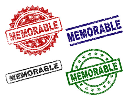 MEMORABLE seal prints with damaged style. Black, green,red,blue vector rubber prints of MEMORABLE caption with dust style. Rubber seals with circle, rectangle, rosette shapes.