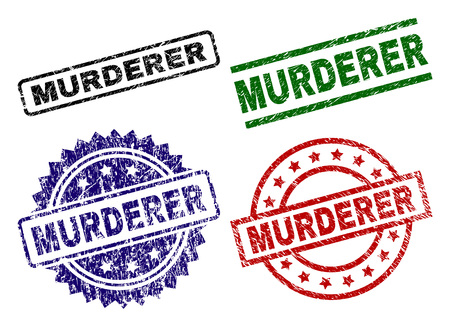 MURDERER seal prints with corroded surface. Black, green,red,blue vector rubber prints of MURDERER title with grunge surface. Rubber seals with round, rectangle, medallion shapes.