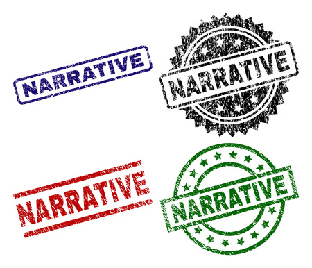 NARRATIVE seal imprints with distress texture. Black, green,red,blue vector rubber prints of NARRATIVE caption with dust texture. Rubber seals with round, rectangle, rosette shapes.