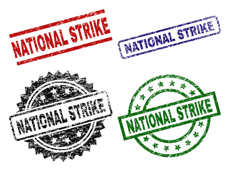 NATIONAL STRIKE seal stamps with distress style. Black, green,red,blue vector rubber prints of NATIONAL STRIKE caption with grunge style. Rubber seals with round, rectangle, medallion shapes.