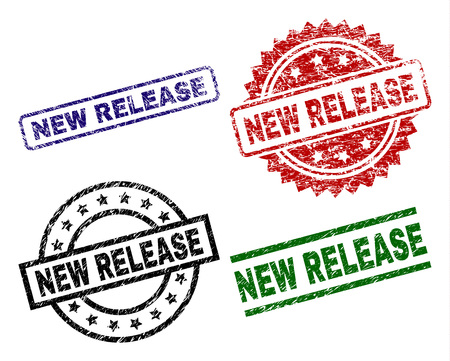 NEW RELEASE seal prints with distress texture. Black, green,red,blue vector rubber prints of NEW RELEASE title with dirty surface. Rubber seals with circle, rectangle, rosette shapes.