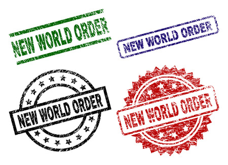 NEW WORLD ORDER seal prints with damaged surface. Black, green,red,blue vector rubber prints of NEW WORLD ORDER caption with corroded surface. Rubber seals with round, rectangle, rosette shapes.