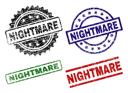 NIGHTMARE seal prints with corroded style. Black, green,red,blue vector rubber prints of NIGHTMARE caption with dirty style. Rubber seals with round, rectangle, rosette shapes.
