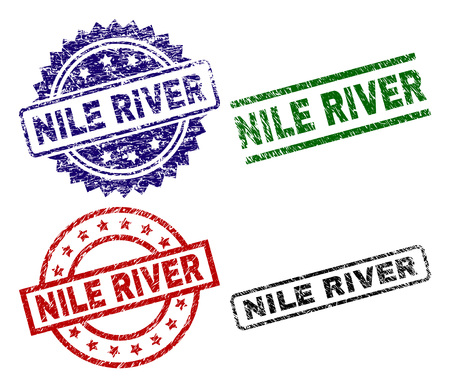NILE RIVER seal prints with damaged surface. Black, green,red,blue vector rubber prints of NILE RIVER text with dust surface. Rubber seals with circle, rectangle, rosette shapes.