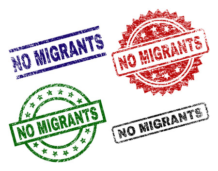 NO MIGRANTS seal prints with corroded texture. Black, green,red,blue vector rubber prints of NO MIGRANTS text with dirty texture. Rubber seals with round, rectangle, medallion shapes.