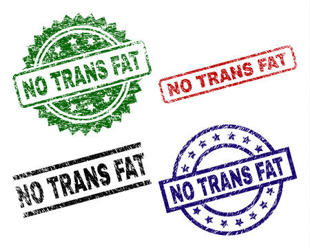 NO TRANS FAT seal prints with distress surface. Black, green,red,blue vector rubber prints of NO TRANS FAT tag with corroded surface. Rubber seals with round, rectangle, medallion shapes.  イラスト・ベクター素材