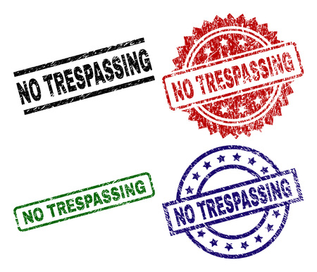 NO TRESPASSING seal prints with damaged texture. Black, green,red,blue vector rubber prints of NO TRESPASSING tag with corroded texture. Rubber seals with round, rectangle, medallion shapes. Illustration