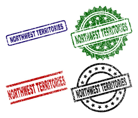 NORTHWEST TERRITORIES seal stamps with corroded style. Black, green,red,blue vector rubber prints of NORTHWEST TERRITORIES caption with dirty style. Rubber seals with circle, rectangle, medal shapes.