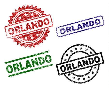 ORLANDO seal prints with corroded texture. Black, green,red,blue vector rubber prints of ORLANDO tag with corroded texture. Rubber seals with round, rectangle, rosette shapes. Illustration