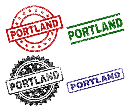 PORTLAND seal prints with distress surface. Black, green,red,blue vector rubber prints of PORTLAND label with dust surface. Rubber seals with circle, rectangle, medallion shapes.