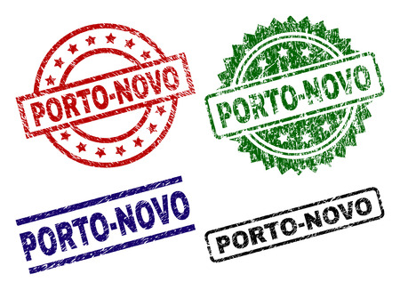 PORTO-NOVO seal prints with distress surface. Black, green,red,blue vector rubber prints of PORTO-NOVO label with scratched surface. Rubber seals with circle, rectangle, medal shapes.
