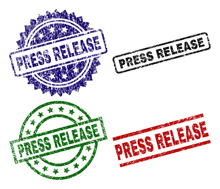 PRESS RELEASE seal imprints with corroded surface. Black, green,red,blue vector rubber prints of PRESS RELEASE text with corroded surface. Rubber seals with round, rectangle, medal shapes.