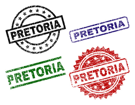 PRETORIA seal prints with distress texture. Black, green,red,blue vector rubber prints of PRETORIA label with dirty texture. Rubber seals with round, rectangle, rosette shapes.