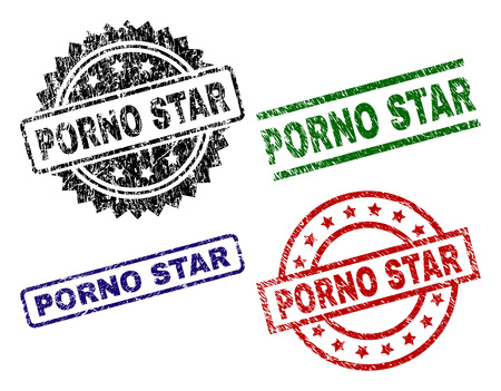 PORNO STAR seal prints with damaged texture. Black, green,red,blue vector rubber prints of PORNO STAR text with unclean texture. Rubber seals with circle, rectangle, medal shapes.