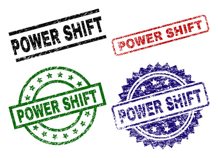 POWER SHIFT seal prints with damaged surface. Black, green,red,blue vector rubber prints of POWER SHIFT text with corroded surface. Rubber seals with round, rectangle, rosette shapes. Illustration