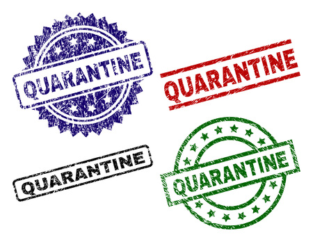 QUARANTINE seal prints with damaged texture. Black, green,red,blue vector rubber prints of QUARANTINE tag with corroded texture. Rubber seals with round, rectangle, rosette shapes. Illustration