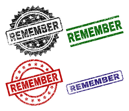 REMEMBER seal prints with damaged texture. Black, green,red,blue vector rubber prints of REMEMBER tag with corroded texture. Rubber seals with circle, rectangle, medal shapes.