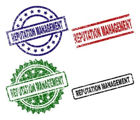 REPUTATION MANAGEMENT seal prints with damaged texture. Black, green,red,blue vector rubber prints of REPUTATION MANAGEMENT label with dust texture. Rubber seals with round, rectangle, rosette shapes.