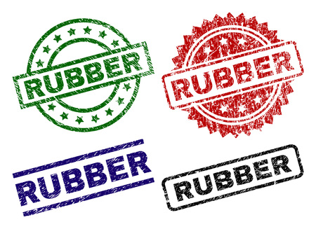 RUBBER seal stamps with damaged surface. Black, green,red,blue vector rubber prints of RUBBER title with dust surface. Rubber seals with round, rectangle, medal shapes.
