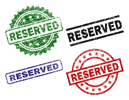 RESERVED seal prints with damaged texture. Black, green,red,blue vector rubber prints of RESERVED title with grunge texture. Rubber seals with circle, rectangle, medallion shapes.