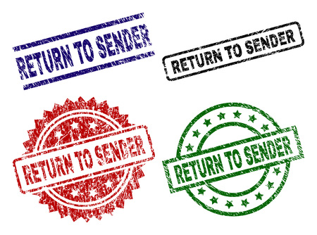 RETURN TO SENDER seal prints with distress style. Black, green,red,blue vector rubber prints of RETURN TO SENDER caption with retro style. Rubber seals with circle, rectangle, medallion shapes. Stock Illustratie