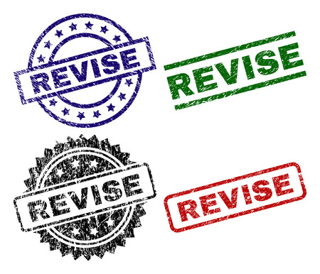 REVISE seal stamps with corroded surface. Black, green,red,blue vector rubber prints of REVISE title with corroded surface. Rubber seals with round, rectangle, medallion shapes.