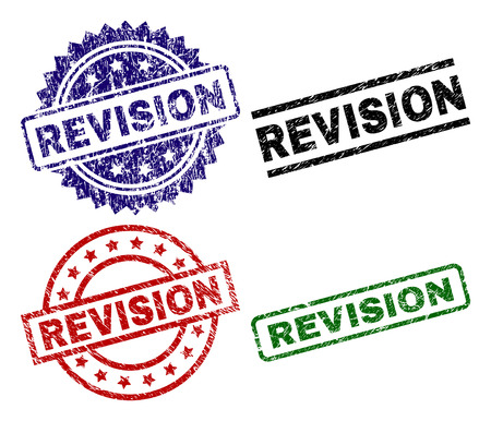 REVISION seal prints with distress surface. Black, green,red,blue vector rubber prints of REVISION title with dust surface. Rubber seals with circle, rectangle, rosette shapes. Illustration