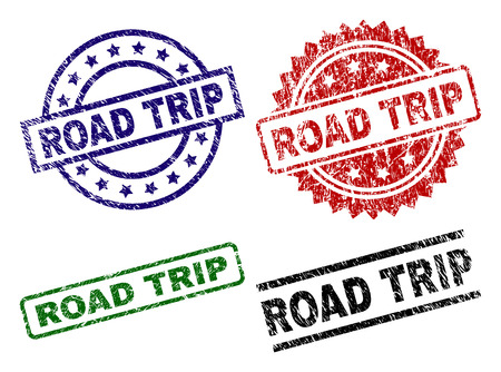 ROAD TRIP seal prints with distress surface. Black, green,red,blue vector rubber prints of ROAD TRIP caption with corroded surface. Rubber seals with circle, rectangle, medal shapes.