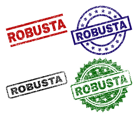 ROBUSTA seal prints with damaged texture. Black, green,red,blue vector rubber prints of ROBUSTA title with scratched texture. Rubber seals with circle, rectangle, medal shapes. Illustration