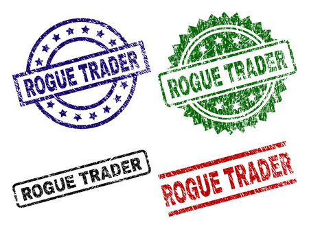 ROGUE TRADER seal prints with corroded texture. Black, green,red,blue vector rubber prints of ROGUE TRADER tag with grunge texture. Rubber seals with round, rectangle, medal shapes. 向量圖像