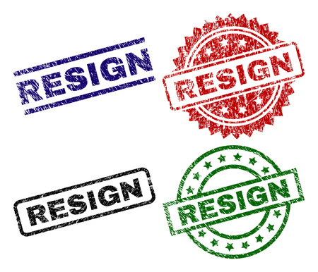 RESIGN seal prints with damaged surface. Black, green,red,blue vector rubber prints of RESIGN text with scratched style. Rubber seals with circle, rectangle, rosette shapes.