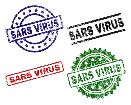 SARS VIRUS seal prints with damaged texture. Black, green,red,blue vector rubber prints of SARS VIRUS title with dust texture. Rubber seals with circle, rectangle, medallion shapes.