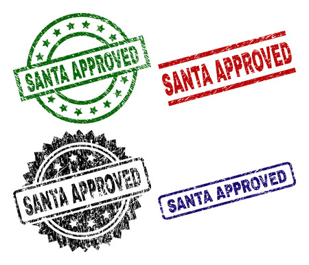 SANTA APPROVED seal prints with corroded surface. Black, green,red,blue vector rubber prints of SANTA APPROVED tag with grunge surface. Rubber seals with circle, rectangle, medal shapes.