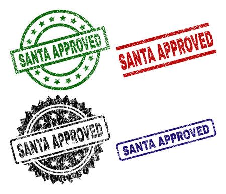 SANTA APPROVED Siegeldrucke mit korrodierter Oberfläche. Schwarze, grüne, rote, blaue Vektorgummidrucke des SANTA APPROVED-Tags mit Grunge-Oberfläche. Gummidichtungen mit Kreis, Rechteck, Medaillenformen.