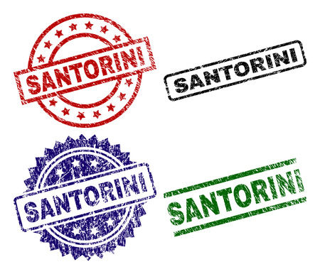 SANTORINI seal prints with corroded style. Black, green,red,blue vector rubber prints of SANTORINI text with corroded texture. Rubber seals with round, rectangle, rosette shapes. 일러스트