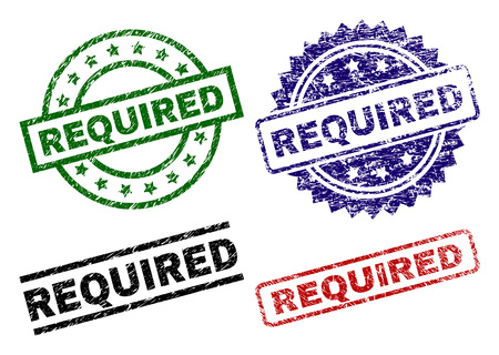 REQUIRED seal prints with corroded style. Black, green,red,blue vector rubber prints of REQUIRED tag with grunge style. Rubber seals with round, rectangle, medallion shapes.