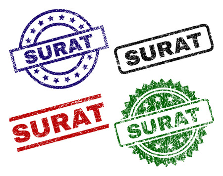 SURAT seal prints with corroded surface. Black, green,red,blue vector rubber prints of SURAT tag with corroded surface. Rubber seals with circle, rectangle, medallion shapes.