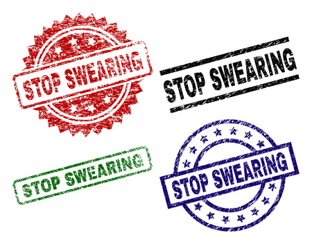 STOP SWEARING seal prints with distress style. Black, green,red,blue vector rubber prints of STOP SWEARING label with scratched style. Rubber seals with round, rectangle, medal shapes. Illustration